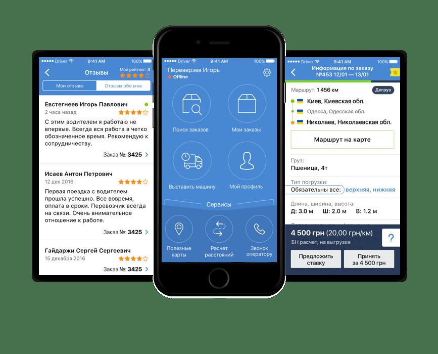 Интерфейс мобильного приложения - transportica.com