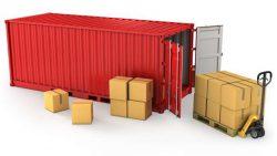 Стоящий на полу контейнер позволяет загружать партии сборного груза механизированным способом.