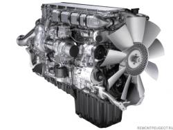 Грузовой дизельный мотор отличается большими размерами и значительным весом.