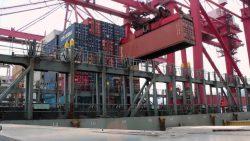 Выгрузка контейнеров в морском порту.