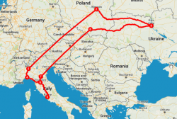 Альтернативные маршруты от Киева до Рима.