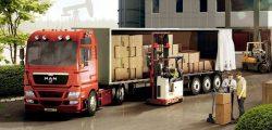 Способ погрузки товарных партий в кабину грузовика.