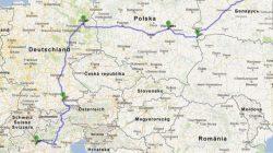 Самый короткий путь из Германии в Италию на карте.