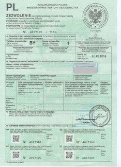 Польский «дозвол» для грузового автотранспорта.